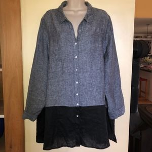 TAHARI 100% linen colorblok long shirt/2X